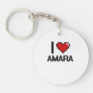 I Love Amara Digital Retro Design Single-Sided Round Acrylic Keychain