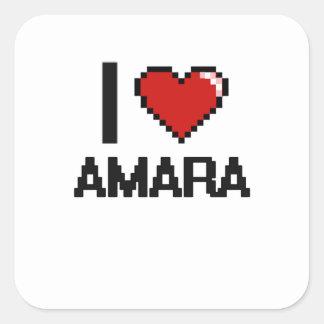 I Love Amara Digital Retro Design Square Sticker