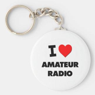 I Love Amateur Radio Basic Round Button Keychain