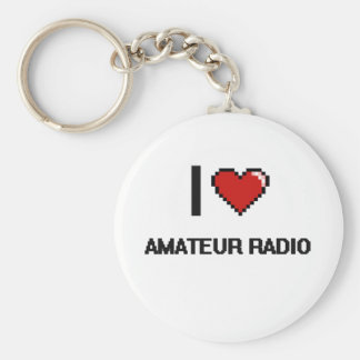 I Love Amateur Radio Digital Retro Design Basic Round Button Keychain