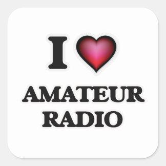 I Love Amateur Radio Square Sticker