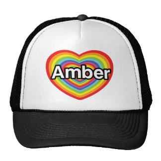 I love Amber, rainbow heart Trucker Hat