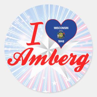 I Love Amberg, Wisconsin Classic Round Sticker