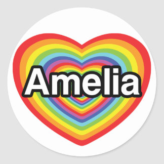 I love Amelia, rainbow heart Classic Round Sticker