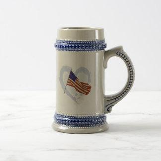 I love America - American Flag 18 Oz Beer Stein