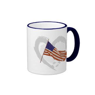 I love America - American Flag Ringer Coffee Mug