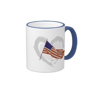 I love America - American Flag Ringer Mug