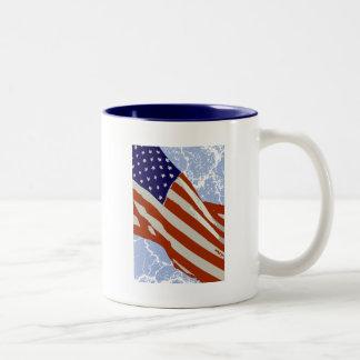 I love America - American Flag Two-Tone Coffee Mug