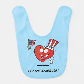 I Love America Baby Bibs