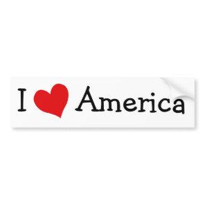 I Love America Bumper Sticker