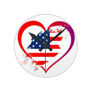 I love America flag in heart Round Clock