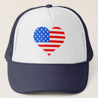 """""""I Love America"""" Heart 4th of July Trucker Hat"""