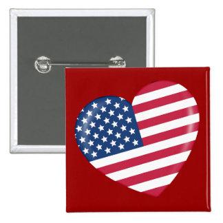 I Love America - Heart of Patriotic American 2 Inch Square Button