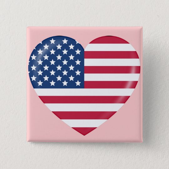 I Love America - Heart of Patriotic American Button