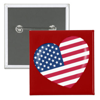 I Love America - Heart of Patriotic American Button