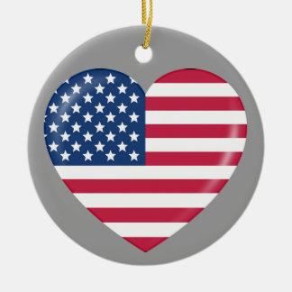 I Love America - Heart of Patriotic American Ceramic Ornament