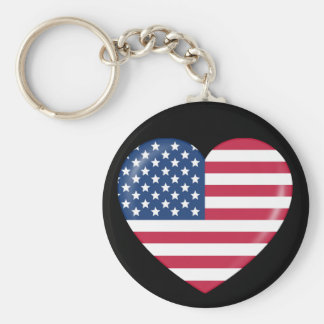 I Love America - Heart of Patriotic American Basic Round Button Keychain