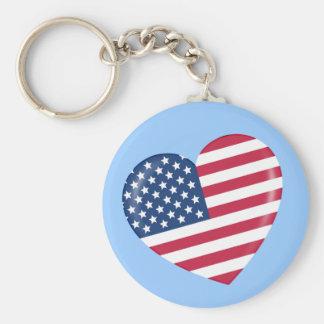 I Love America - Heart of Patriotic American Keychain