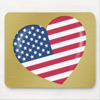 I Love America - Heart of Patriotic American Mouse Pad