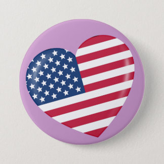 I Love America - Heart of Patriotic American Pinback Button