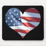 I Love America - Heart Shaped American Flag Mouse Pad