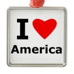 I Love America Metal Ornament