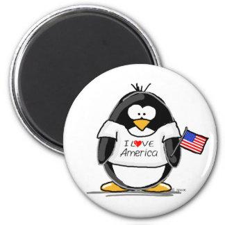 I Love America Penguin Magnets
