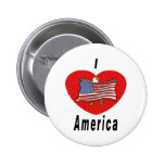 I Love America Pinback Buttons