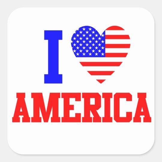 I Love America Square Sticker
