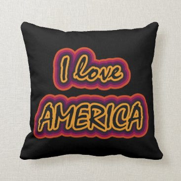 USA Themed I Love America Throw Pillow