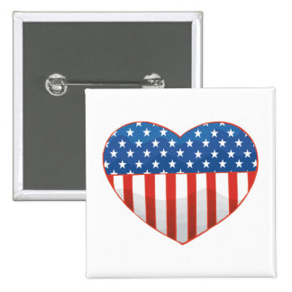 I Love America - United States Flag Heart Buttons