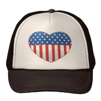 I Love America - United States Flag Heart Trucker Hat