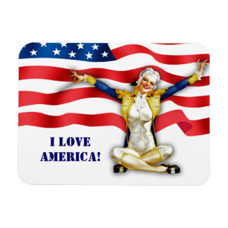 I Love America US Patriotic Pin-Up Gift Magnet Vinyl Magnet