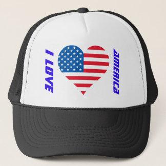 I Love America Usa Flag Trucker Hat