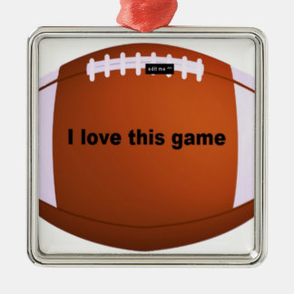 I love American footballs.png Square Metal Christmas Ornament