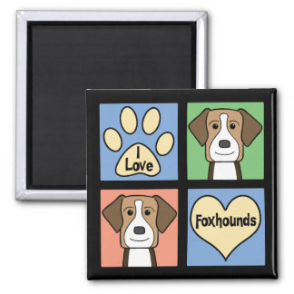 I Love American Foxhounds 2 Inch Square Magnet