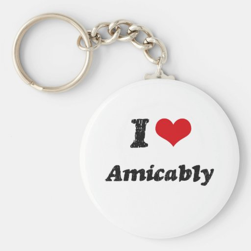 I Love Amicably Basic Round Button Keychain