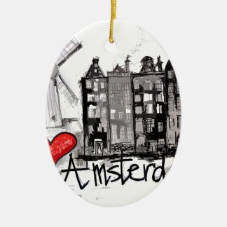 I love Amsterdam Double-Sided Oval Ceramic Christmas Ornament
