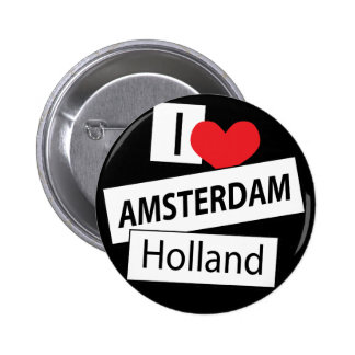 I Love Amsterdam Holland Pinback Buttons
