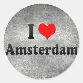 I Love Amsterdam, Netherlands Classic Round Sticker