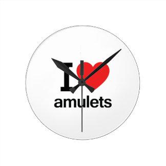 I Love Amulets Round Wallclocks