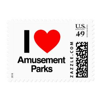 i love amusement parks postage stamp