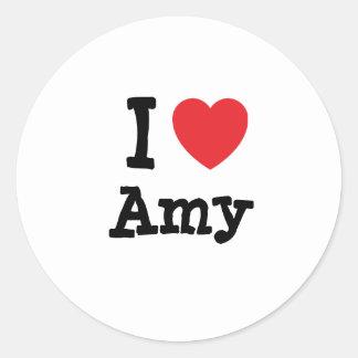 I love Amy heart T-Shirt Classic Round Sticker