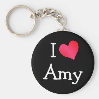 I Love Amy Basic Round Button Keychain