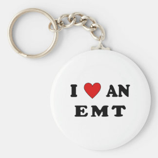I Love An EMT Basic Round Button Keychain