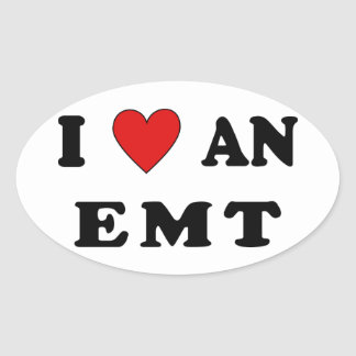 I Love An EMT Oval Sticker