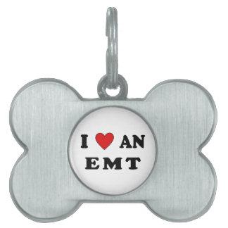 I Love An EMT Pet ID Tag