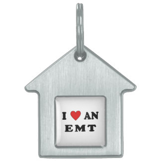 I Love An EMT Pet Name Tags