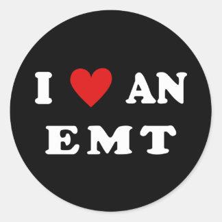 I Love An EMT Round Sticker