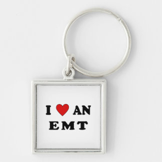 I Love An EMT Silver-Colored Square Keychain